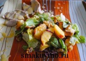 Салат с утиной грудкой и нектаринами