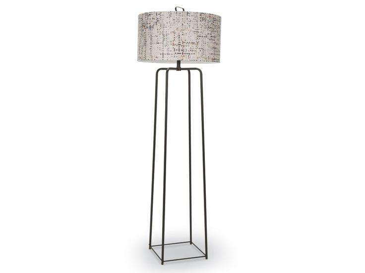 Griffith Bronze Iron Floor Lamp This transitional floor lamp features four gently rounded iron bars in a bronze finish. It is topped with a woven recycled newsprint shade in cream cotton lining and has a double socket and foot dimmer.