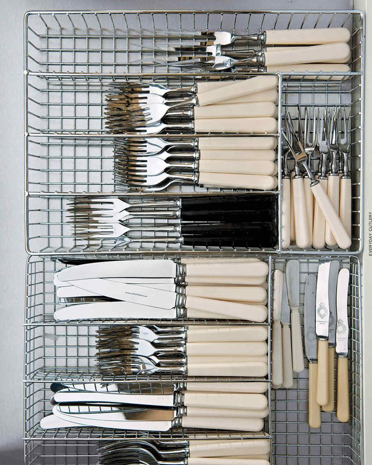 Everyday Flatware | Martha Stewart Living - Martha likes organizers with rectangular compartments (rather than spoon- and fork-shaped compartments) for the French ivory flatware she uses daily.