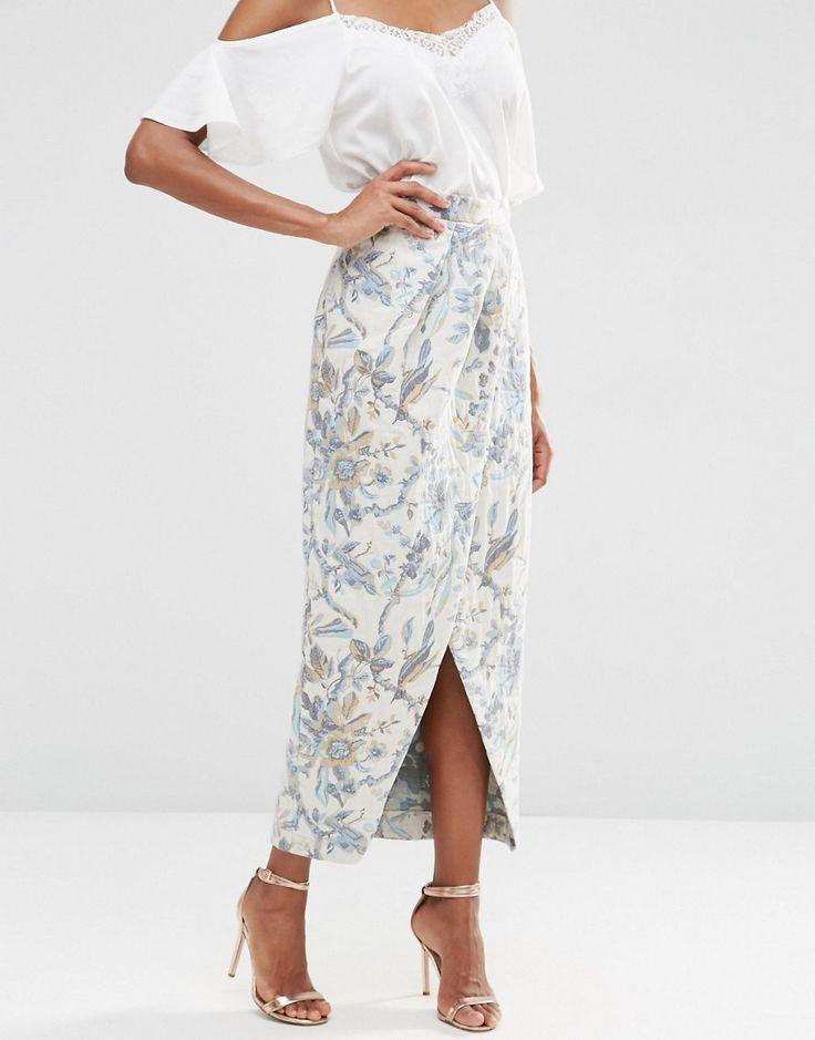 Image 4 of ASOS Premium Jacquard Maxi Skirt with Wrap Detail