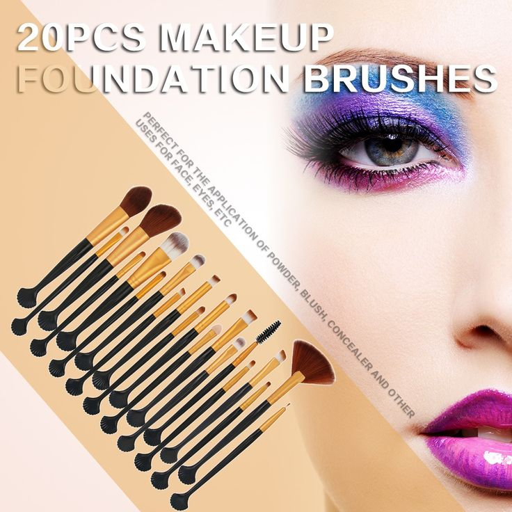 20Pcs Makeup Set Power Foundation Eye Shadow Contour Concealer Cosmetic Shell Make Up Brush Tools Kit Sales Online #1 - Tomtop