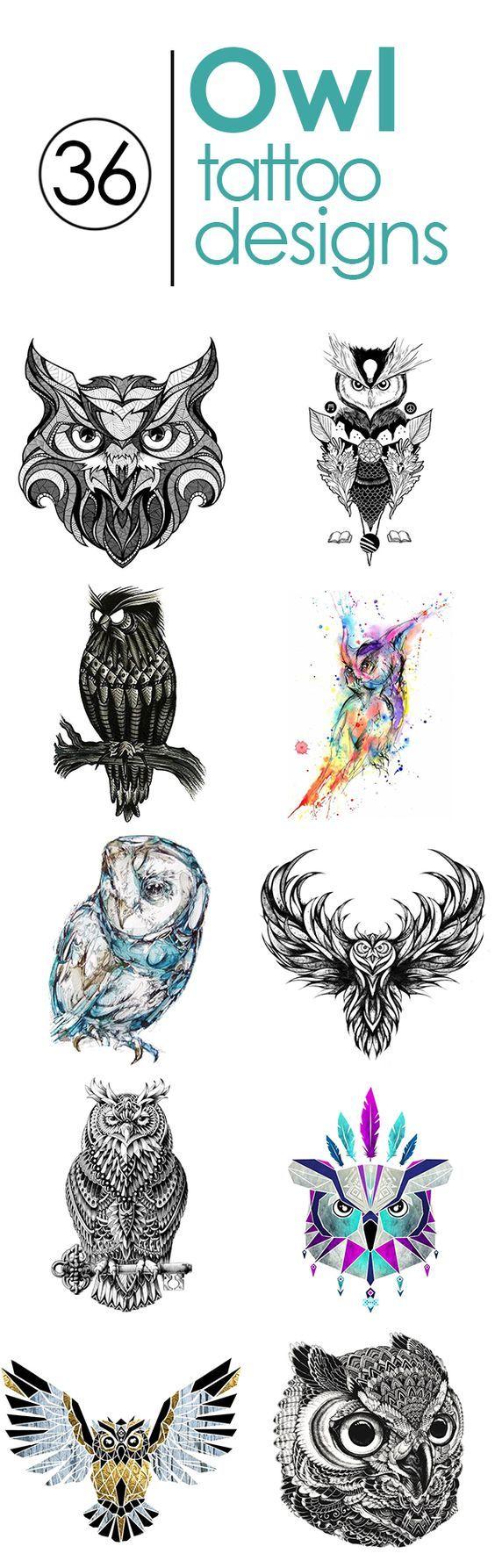 36 Best owl tattoo designs in full size. http://www.gettattoed.com/tattoo-designs/owl-tattoo-designs/: