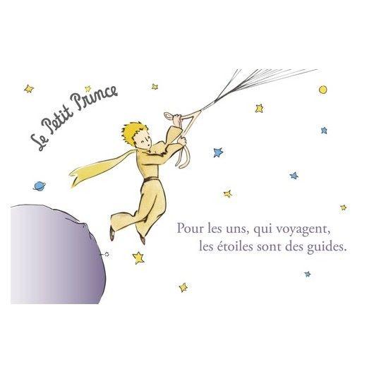 Succombez pour ce magnet en metal du Petit Prince pour décorer votre réfrigérateur. Il représente le Petit Prince prenant son envol. Inscription : '' Pour les uns qui voyagent, les étoiles sont des guides ''. Taille: 8 x 8cm.
