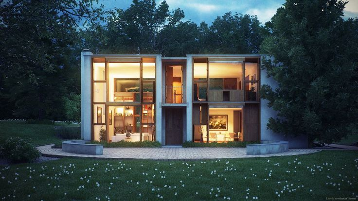 Louis Kahn's Esherick House by Ludvik Koutny - 3D Architectural Visualization & Rendering Blog