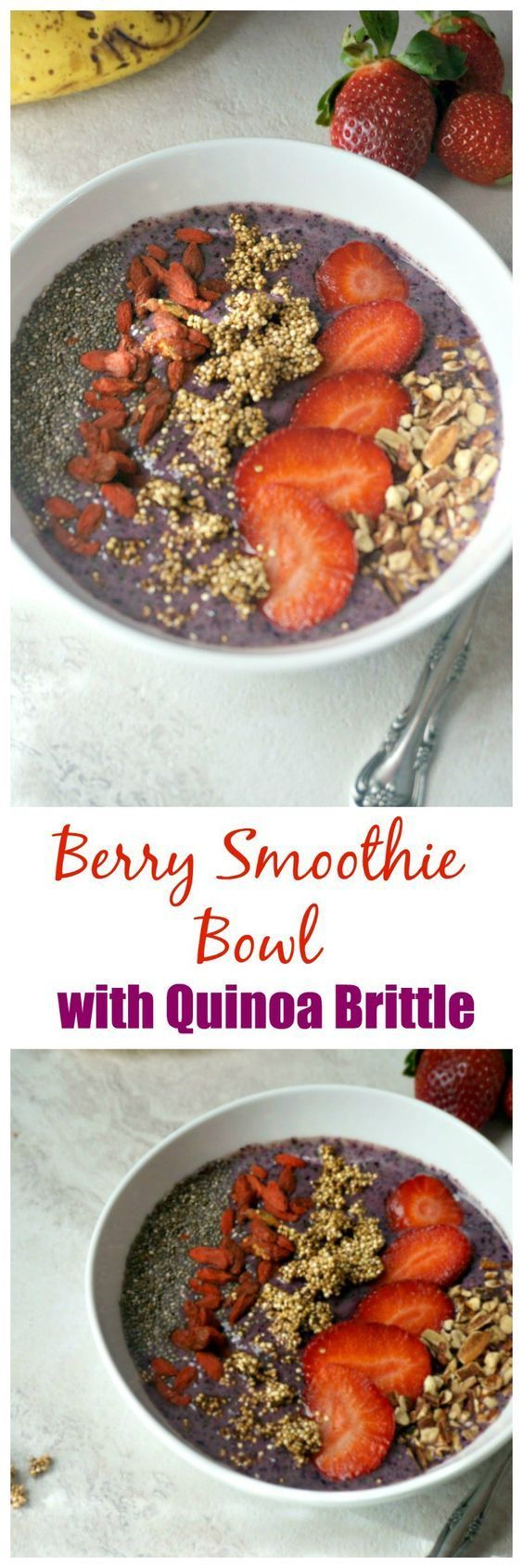 Berry Smoothie Bowl with Quinoa Brittle: Sweet berries are blended together with Greek yogurt and topped with toasted nuts, chia seeds, fresh berries and dried Goji berries, and the star of the show--Quinoa Brittle. This is one nutrient packed smoothie bowl!
