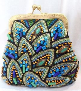 Mary Frances Blue Beaded Crossbody Paisley Small Bag Handbag Purse NEW
