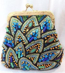 mary frances handbags | Mary Frances Blue Beaded Crossbody Paisley Small Bag Handbag Purse New ...