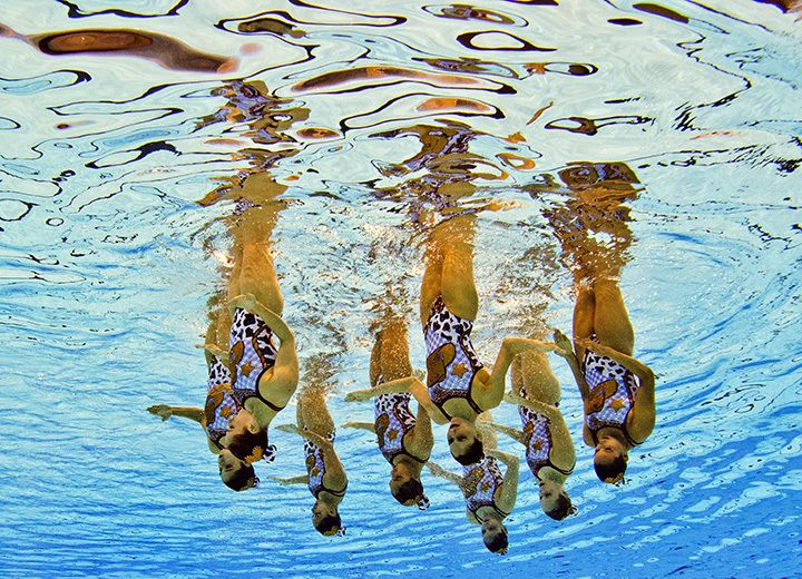 Mexican synchronized swimmers compete during the team technical routine at the 2015 Pan American Games in Toronto on July 9, 2015. Damien Meyer/AFP/Getty Images