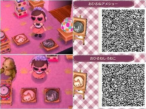 SLEEPING KITTY PATTERN. ANIMAL CROSSING NEW LEAF. QR CODE. ACNL. PINNED BY Stephy Sama