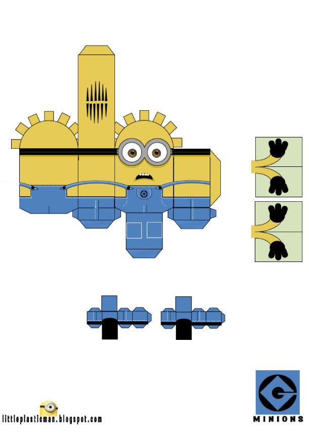Blog Paper Toy papertoys Minions Little Plastic Man Dave template preview Papertoys Minions (x 2)