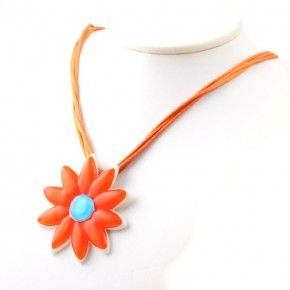 Vetrofuso by Daniela Poletti necklace orange daisy flower
