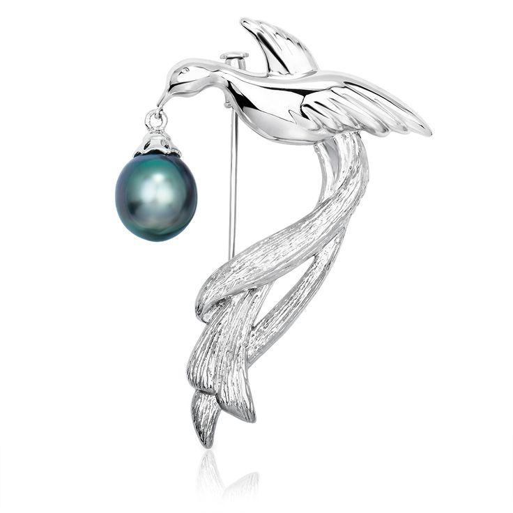 Серебряная брошь Райская птица с черной жемчужиной Таити купить в фирменном магазине НасонЖемчуг