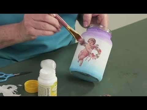 Pintura esponjada em potes de vidro - Reciclar com Arte - YouTube