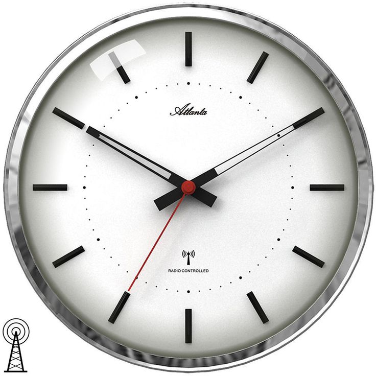 Atlanta radio controlled wall clock with sweeping second hand