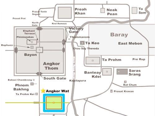 Map of Angkor Wat, Cambodia