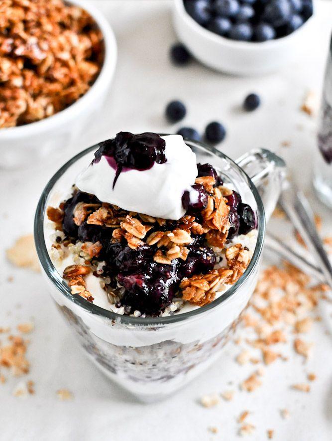 Breakfast inspiration: roasted blueberry coconut quinoa parfaits with coconut granola.