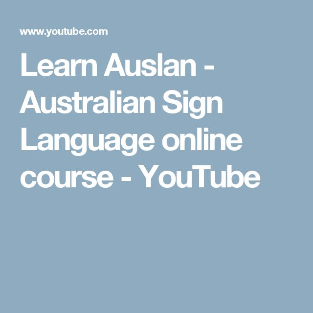Learn Sign Language (Auslan) - YouTube