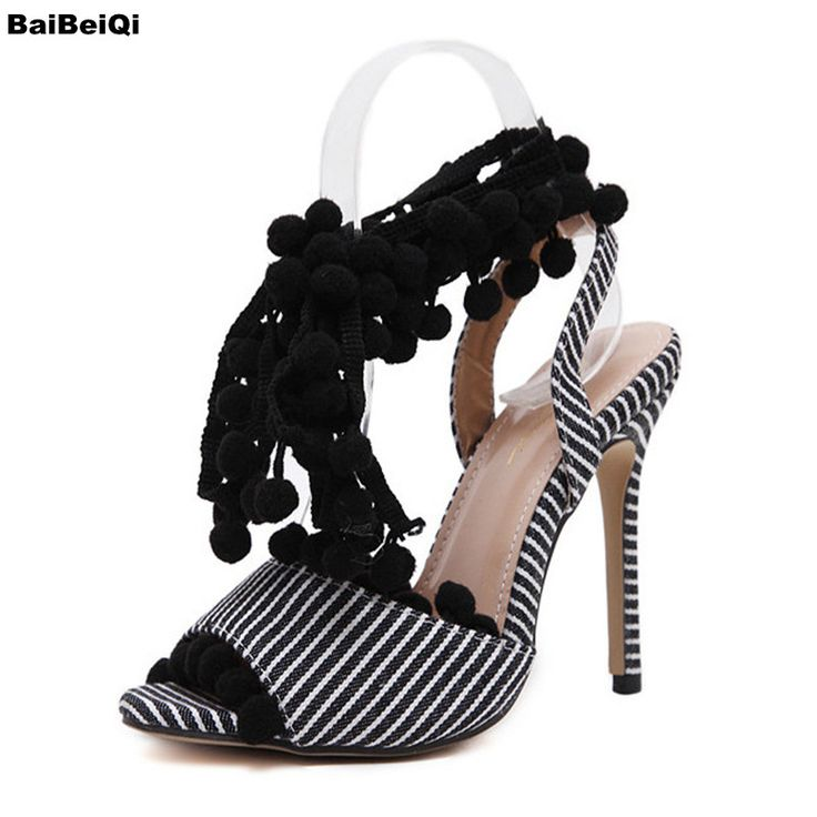 >> Click to Buy << Cross Strap Women Shoes Heel Sandals With Fur Camvas Sexy Women Open Toes Striped Women Pumps Shoes #Affiliate