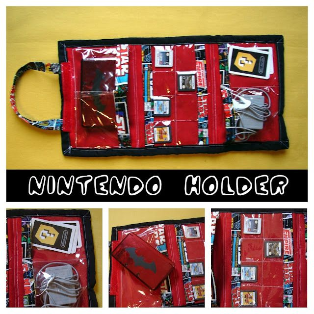 Nintendo Holder by Kimbo at A Girl and A Glue Gun -- I'm more in awe of the fabric! I want that fabric!!!