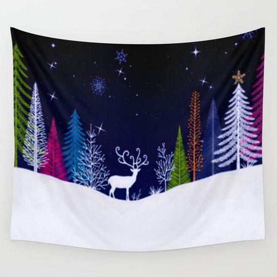#Society6 Snowy Night Wall Tapestry