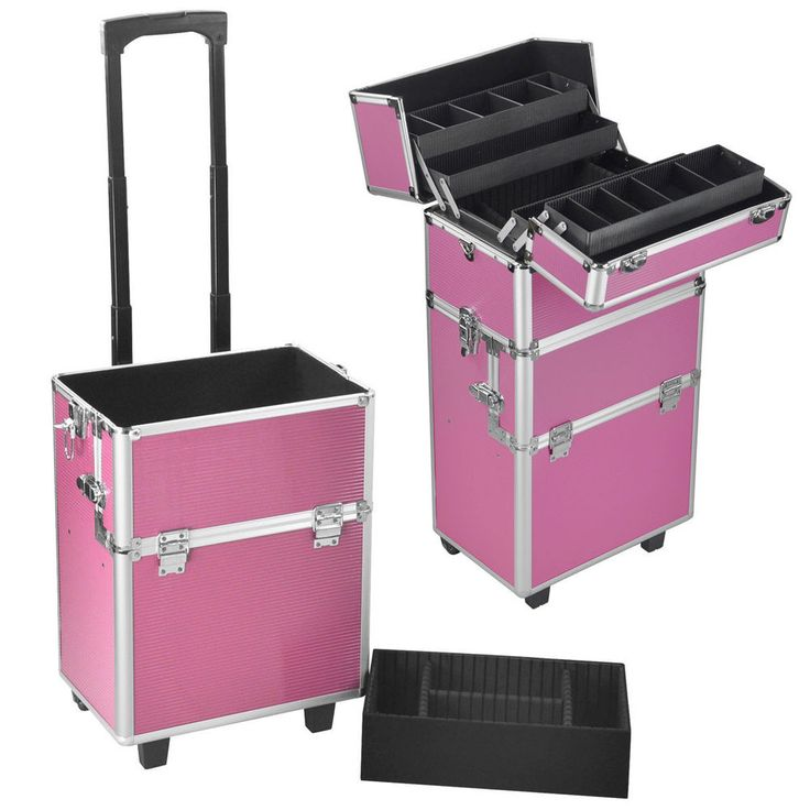 Aluminum Rolling Makeup Organizer Travel Trolley Bag 3 in 1 Cosmetic Salon Case #Unbranded