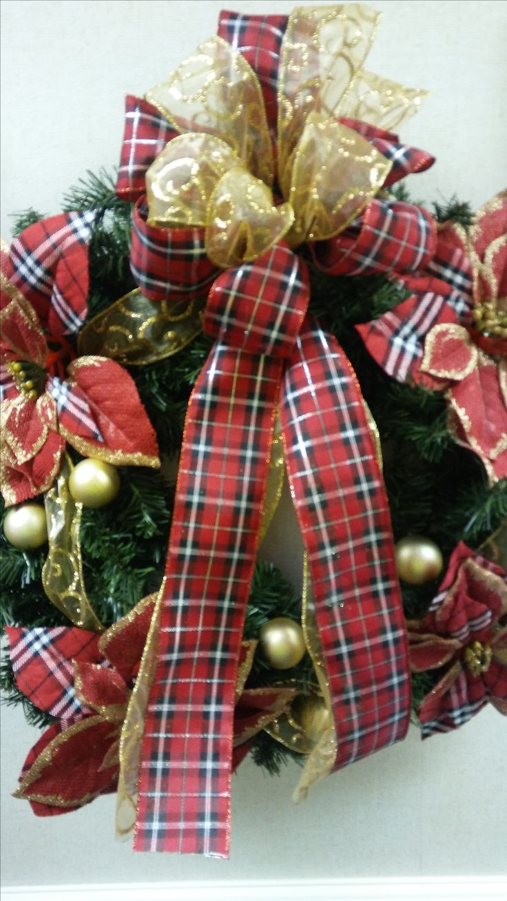 Plaid Floral and Gold Wreath
