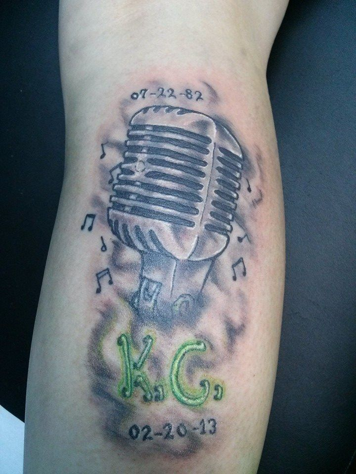 "Microphone memorial by Steven ""Phoenix"" Kish at Skyline Tattoo Studio in Little Falls, MN https://www.facebook.com/steven.kish1"