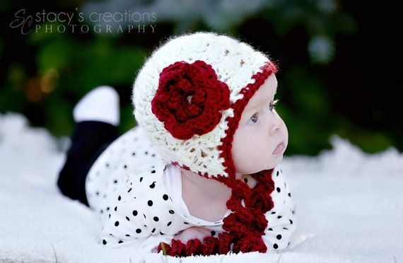 Crochet Baby Hat Crochet Hat Baby Girl Hat Flower by Monarchdancer, $26.00