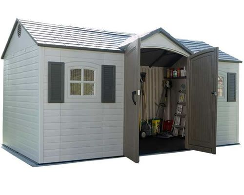 Lifetime 15x8 plastic garden storage shed w floor for for Two floor shed