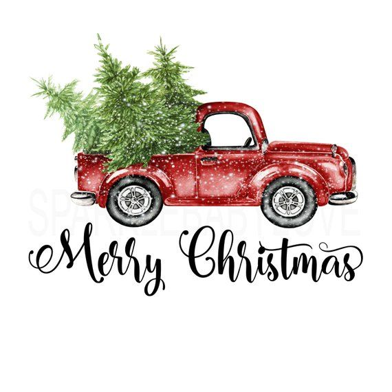 Merry Christmas Tree Truck Holiday Iron On Ready To Press Etsy Christmas Tree Truck Christmas Truck Christmas Design