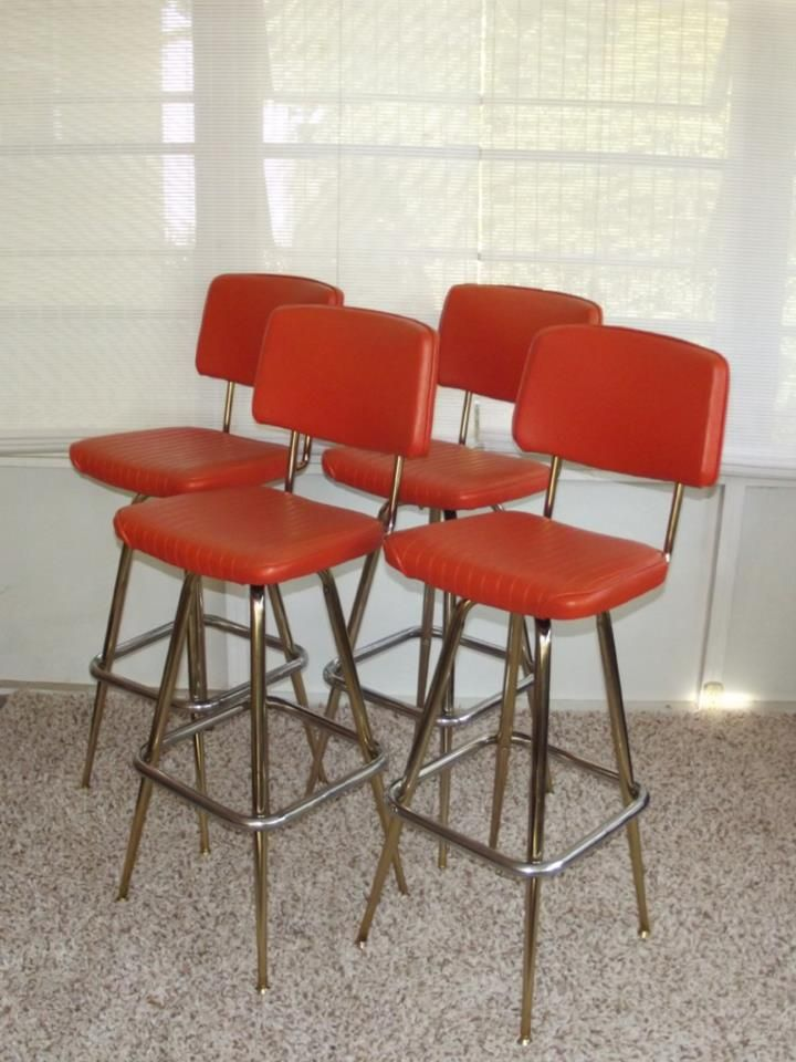 Set of 4 Retro Chrome Orange Vinyl Bar Stools & 83 best Sofau0027s Chairs u0026 Bar Stools images on Pinterest | Bar ... islam-shia.org