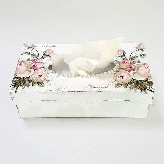 ************* This is an original design created by chiclaceandpearls************ This Shabby Chic Tissue Box features a strong paper mache box which i have handpainted white and then given it a textured feel.I have also lightly distressed it to give it a shabby chic look.I have then decoupaged Vintage/Shabby Chic style rose napkins onto the the top and the finished it with white flatback pearls around the opening. This beautiful Tissue Box will add a touch of Opulence and Class to your…