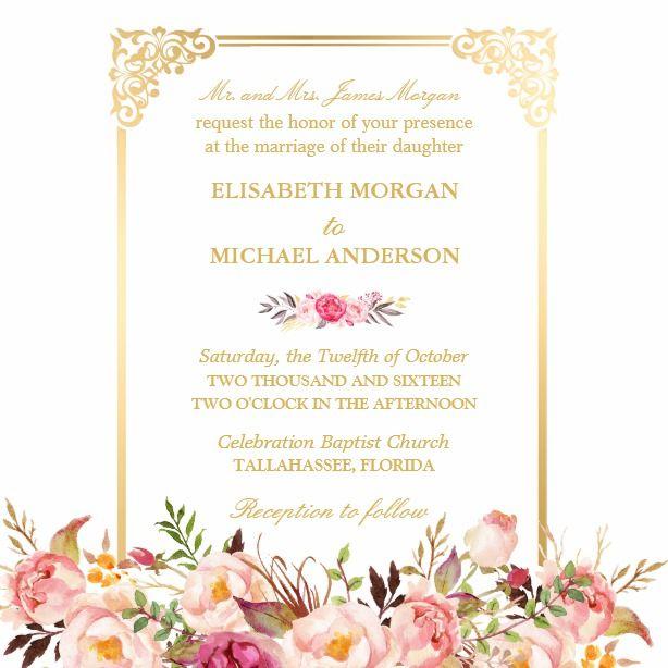 Bride S Parents Vintage Gold Frame Floral Wedding Card