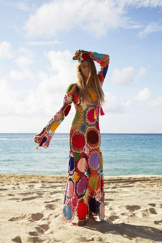 new concept 3f708 9a72f Hippie crochet dress,boho clothing,gypsy dress,vintage,gift ...