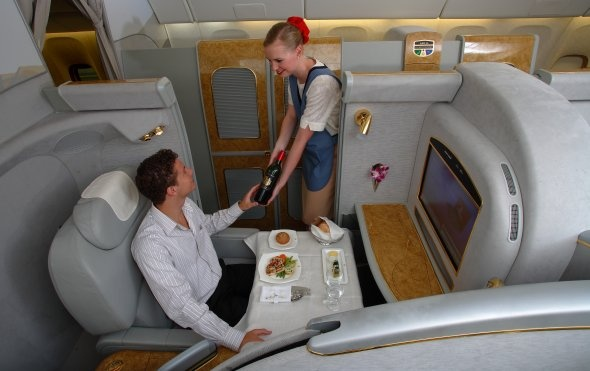 Now that's First Class seating on a flight. Airlines: Emirates