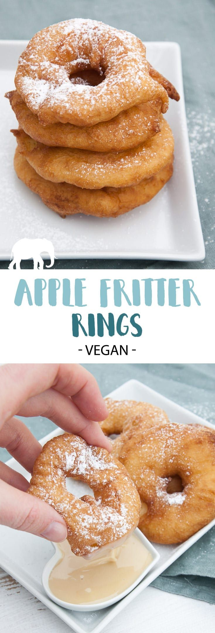 Vegan Apple Fritter Rings | #vegan #apple #fritter #dessert #sweet via @elephantasticv