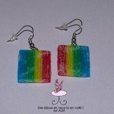 Bijoux gourmands fimo, bonbons acidulés,  boucles d'oreilles.  Polymer clay. http://des-bijoux-en-veux-tu.alittlemarket.com www.facebook.com/Desbijouxenveuxtuenvoila