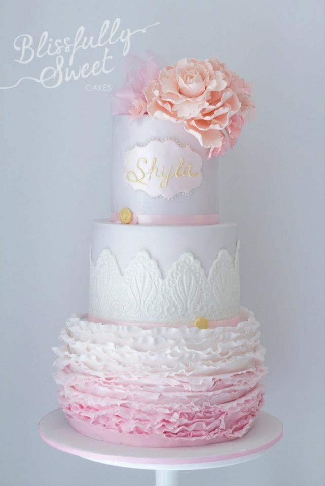 Pink and white cake. Christening cake for a girl