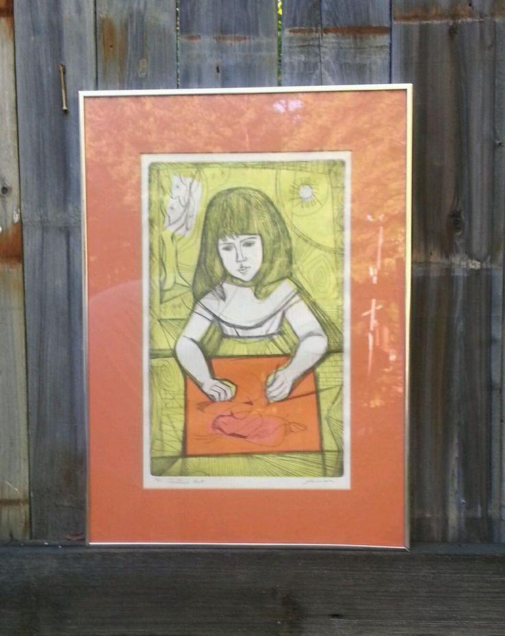 Vtg IRVING AMEN ETCHING Art Print ~ GIRL Child Artist ~ SIGNED Framed Ltd Ed #Expressionism
