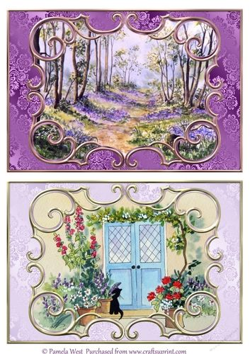 2 A5 card toppers.  Bluebell wood and Cat by the Door.  Made from some of my original watercolour paintings.  Suitable for all occasions, birthday, anniversary, new home, Dad, Mum, Daughter etc