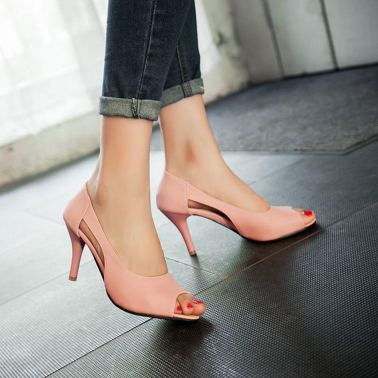 Open Toe Sandals Spool Heels 8046