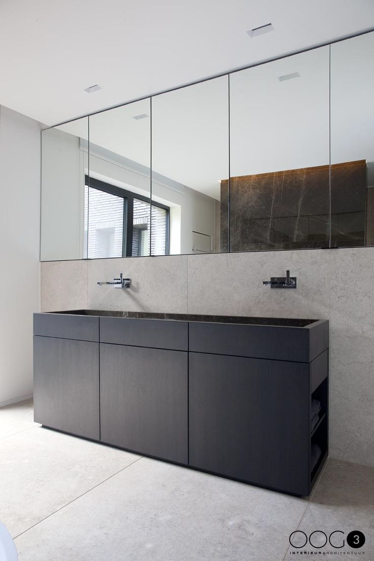 Badezimmerplanung Wien Bathroom With Wow Factor Mirror Wall And Concrete Optics
