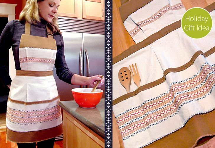 Scandinavian Apron with Decorative Stitches. Here's a chance to use some of those special stitches on your sewing machine! DIY