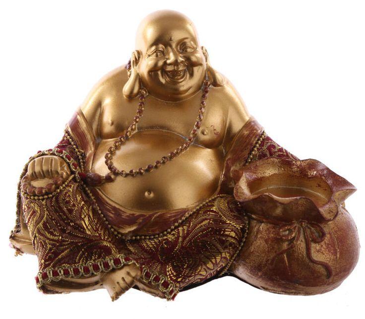 Zittende Chinese Boeddha Theelichthouder - Rood & Goud - 10,5 cm hoog