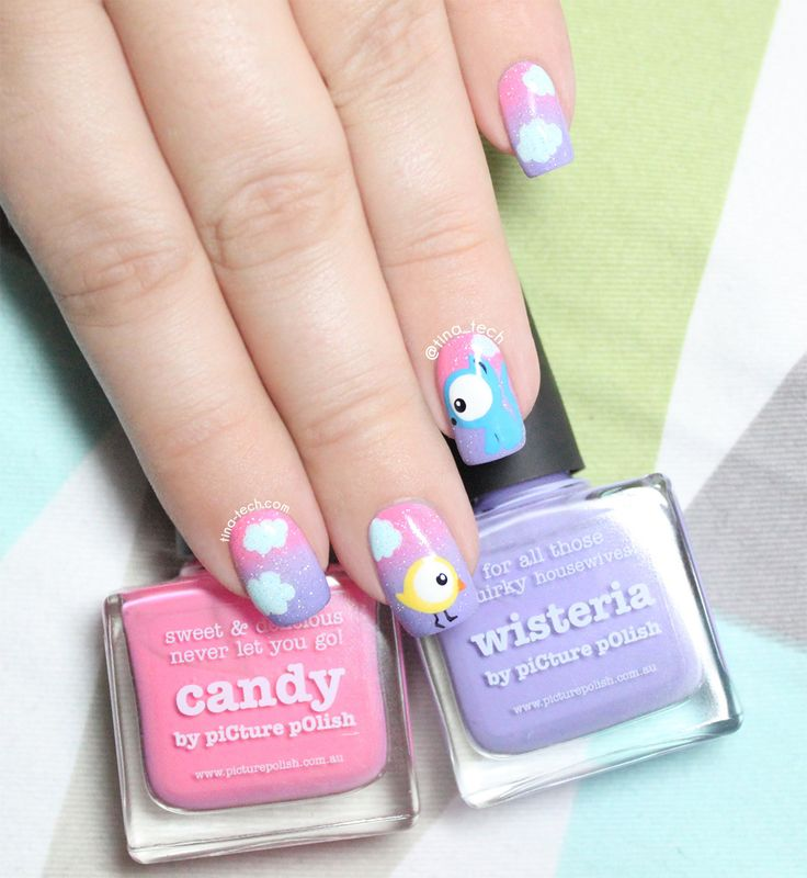 Cute Bird and Cat Nail Art by tina-tech.com