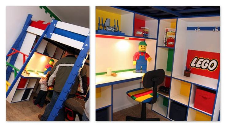Lego Loft Bed with Storage -- simple, and Lego without being overwhelming