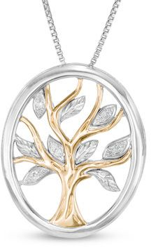 Diamond Accent Oval Tree of Life Pendant in Sterling Silver and 14K Gold