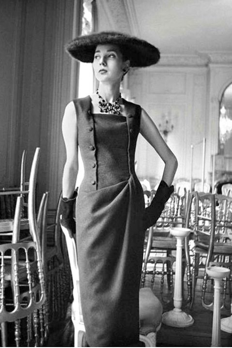 1954 Renée Breton is wearing couture dress from Dior's controversial H-Line in 1954, photo by Mark Shaw at Maison Dior,: