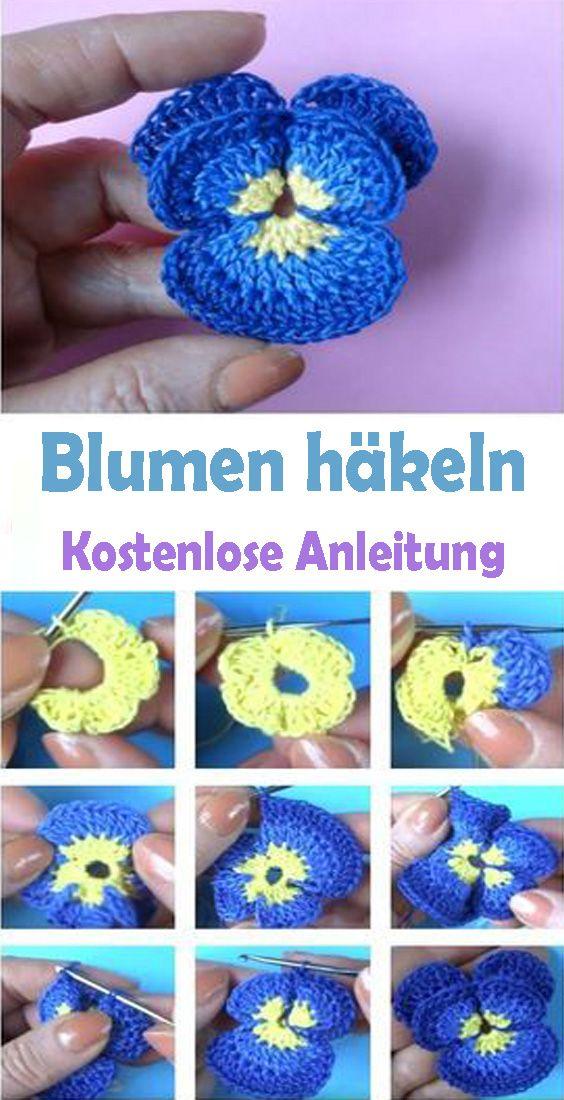 Einfache Blume häkeln – kostenlose DIY Anleitung