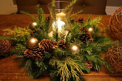 This was my Christmas centerpiece last year.  I loved it.  I mixed fresh pine clippings, faux pine wreath, fake snow in a hurricane vase, pine cones and added some ornaments.   DIY Centerpiece I loved the arrangement and natural elements.  This...